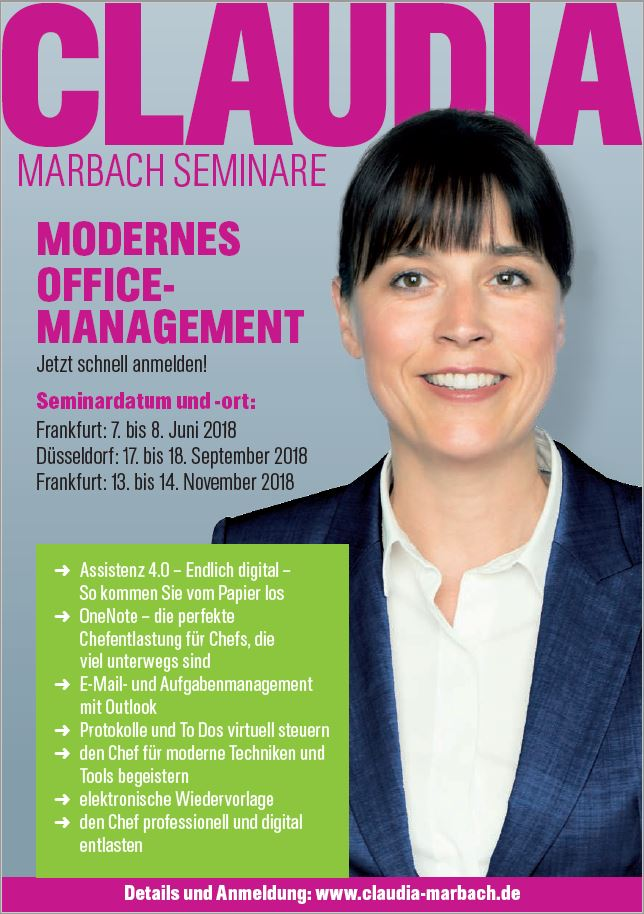 Anzeige Modernes Officemanagement 3 Termine